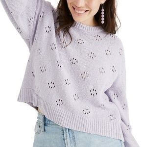 Madewell Floral Pointelle Lilac/Purple Sweater XXL